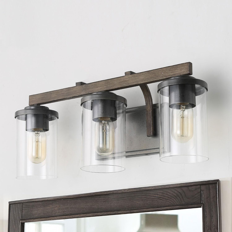 3 Light Rustic Bath Vanity Fixture Wall Sconces Lights Metallic