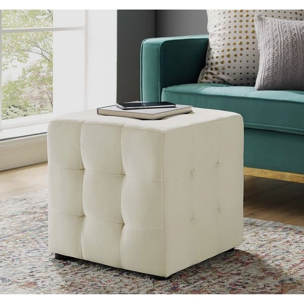 Awe Inspiring Shop Harmony Ivory Velvet Upholstered Tufted Cube Ottoman Machost Co Dining Chair Design Ideas Machostcouk