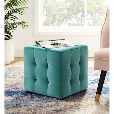 Harmony Teal Velvet Upholstered Tufted Cube Ottoman