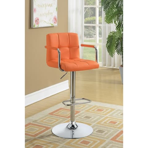 Ellis Chrome Adjustable Bar Stool with Arms
