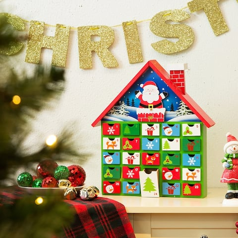 Glitzhome Christmas Wooden House Count Down Calendar Decor w/Drawer