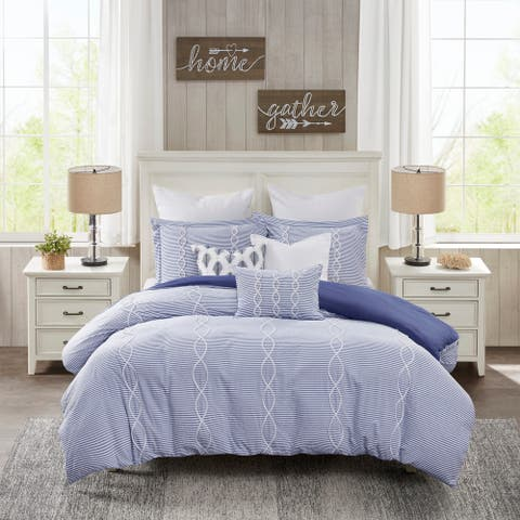Madison Park Signature Coastal Farmhouse Blue Comforter Set