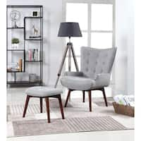 Manson Mid-century Modern Grey Accent Chair and Ottoman