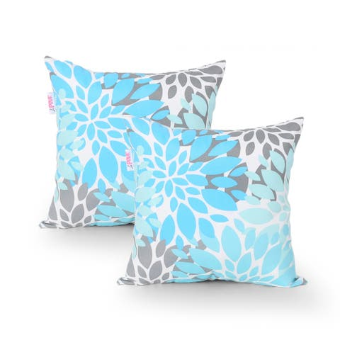 Lispenard Outdoor Modern Water Resistant Fabric Square Pillow (Set of 2) by Christopher Knight Home