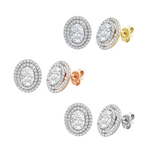 Divina Sterling Silver Oval-cut Swarovski Double Halo Stud Earrings