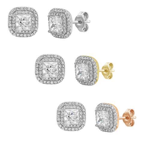 Divina Sterling Silver Princess-cut Swarovski Double Halo Stud Earrings