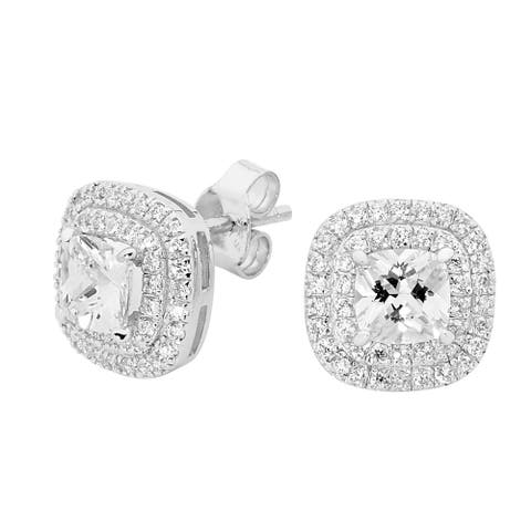 Divina Sterling Silver Cushion-cut Swarovski Double Halo Stud Earrings