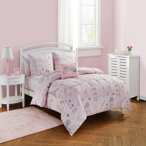 Newport Home Sweet Paris Kids Collection/Pink 7PC Comforter Set & 5PC Comforter Set