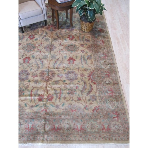 Beige/pink Hand-knotted Wool Traditional Peshawar Rug - 9' 1 x 12' 2
