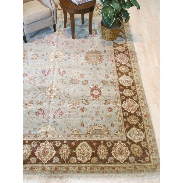 Blue/brown Hand-knotted Wool Traditional Agra Rug - 9' x 11'11