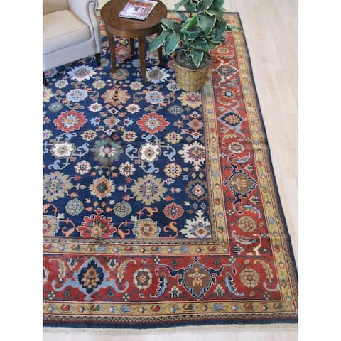 Navy/rust Hand-knotted Wool Traditional Mahal Rug - 9' 2 x 11' 9