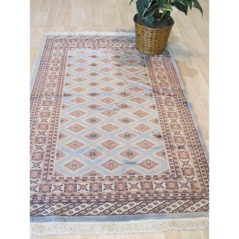 Steel blue/salmon Hand-knotted Wool Traditional Bokhara Rug - 4' x 6'5