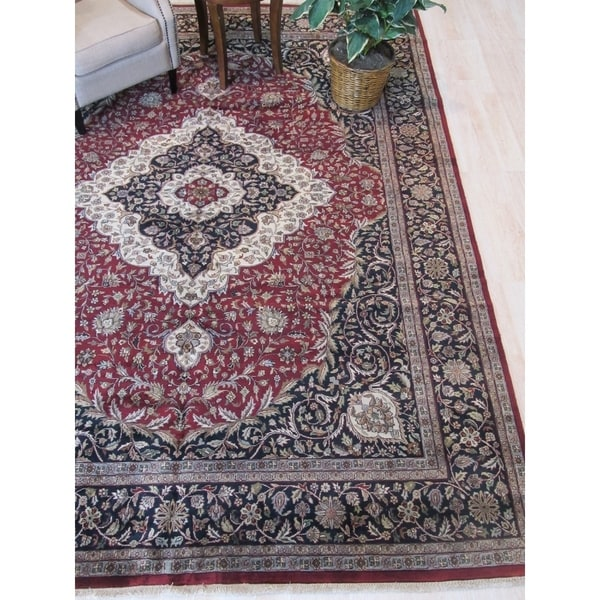 Red/black Hand-knotted Wool Traditional Sarouk Rug - 8'10 x 11' 9