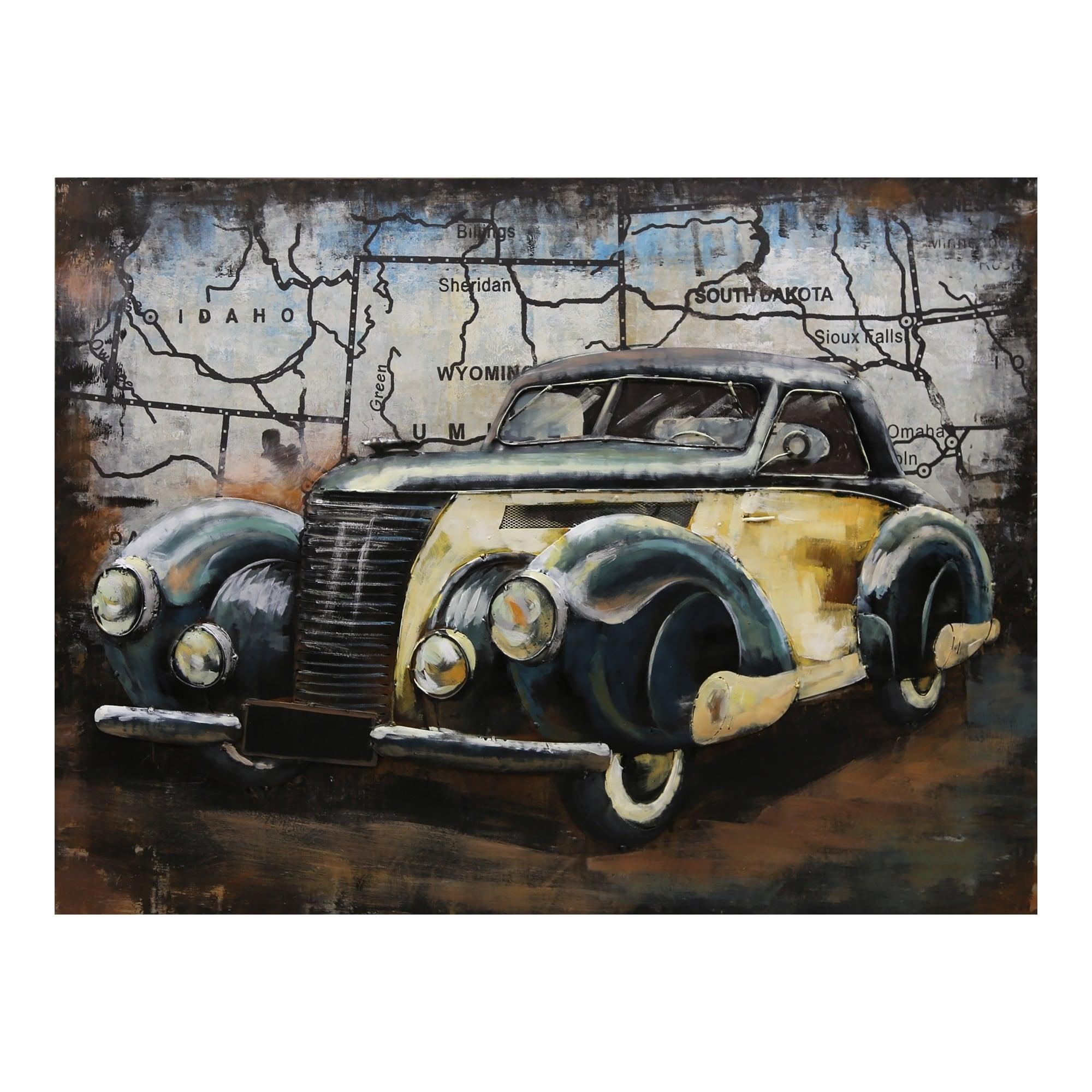 Aurelle Home Antique Metal Industrial Car Wall Decor - 40 x 30