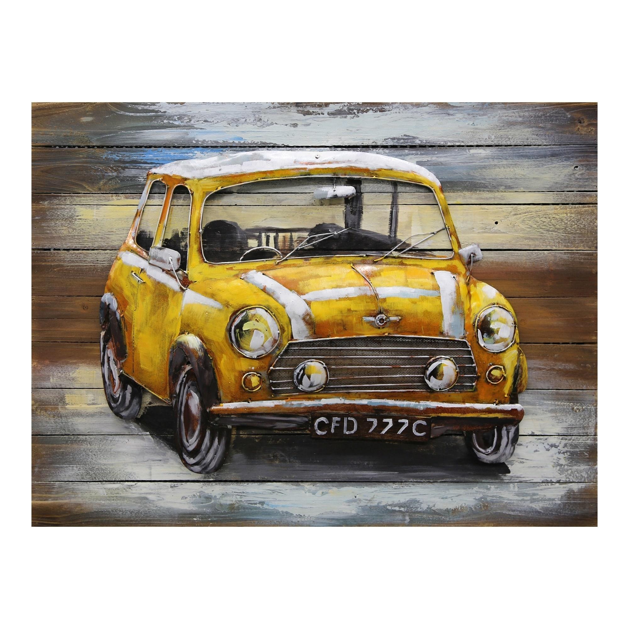 Aurelle Home Antique Metal Car Wall Decor - 40 x 30