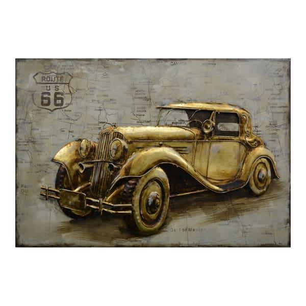 Aurelle Home Antique Metal Transitional Car Wall Decor