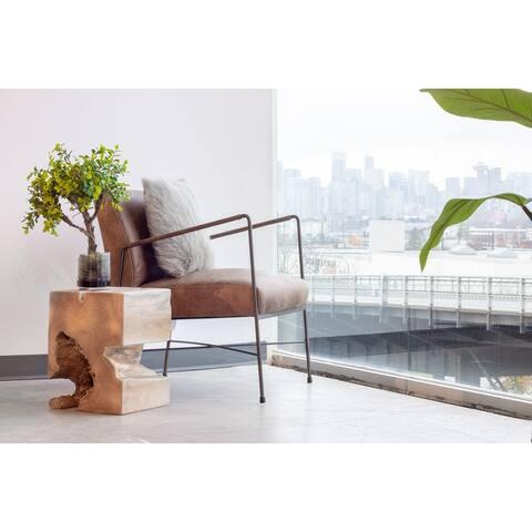 Aurelle Home Cappuccino Premium Leather Arm Chair