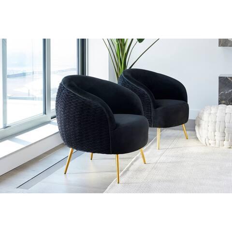 Aurelle Home Black Velvet Textured Lounge Chair