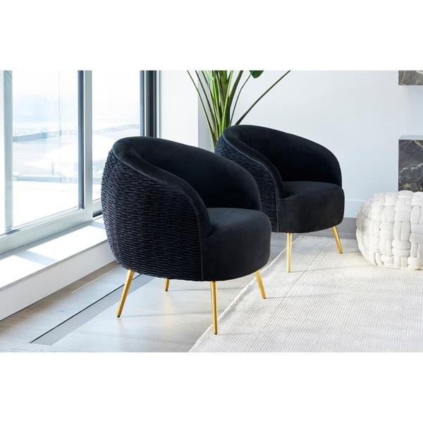 Aurelle Home Black Velvet Textured Lounge Chair. Opens flyout.