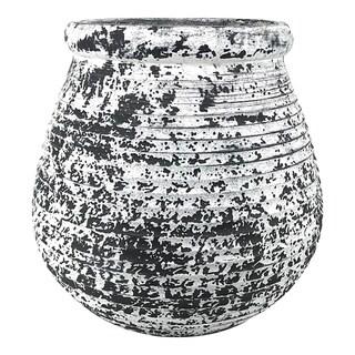 Aurelle Home Black and White Rustic Cement Planter