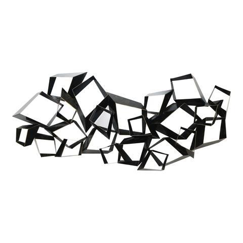 Aurelle Home Black Metal Geometric 3D Diamond Wall Decor