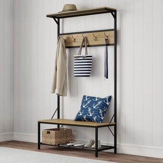 Entryway Storage Bench - Metal Hall Tree with Seat by Lavish Home - 39 x 15.75 x 71.5