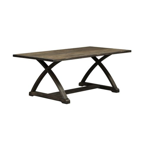 Highland Creek Rustic Charcoal Trestle Table