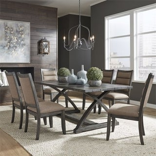 Highland Creek Rustic Charcoal 7-piece Trestle Table Set