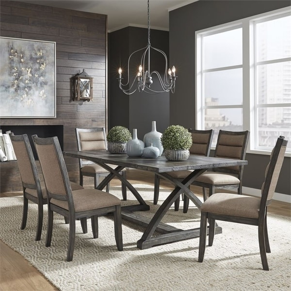 Highland Creek Rustic Charcoal 7-piece Trestle Table Set