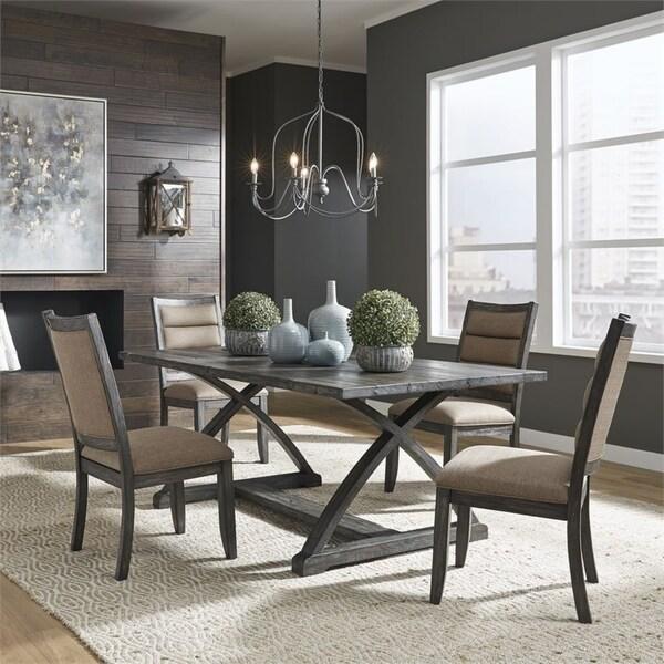 Highland Creek Rustic Charcoal 5-piece Trestle Table Set
