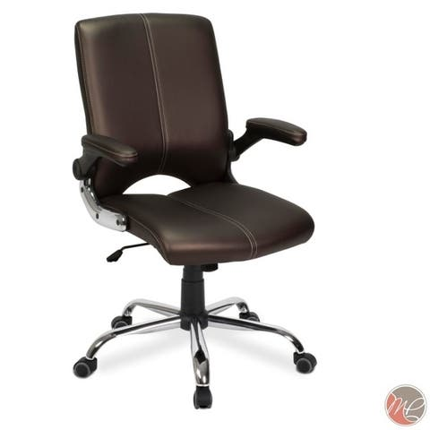VERSA Stylish Swivel Office Chair COFFEE Desk Chair w/ Adjustable Armrest - N/A