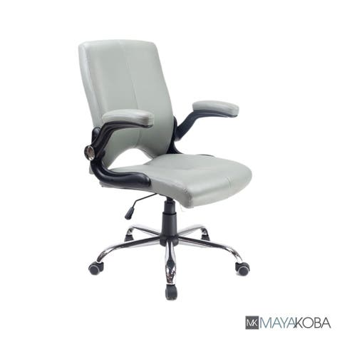 VERSA Stylish Swivel Office Chair Grey Desk Chair w/ Adjustable Armrest - N/A