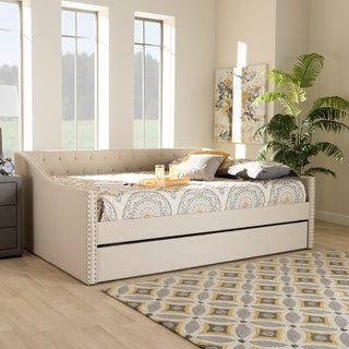 Haylie Modern and Contemporary Upholstered Daybed with Trundle