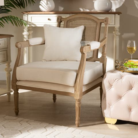 Clemence French Provincial Ivory Fabric Upholstered Wood Armchair