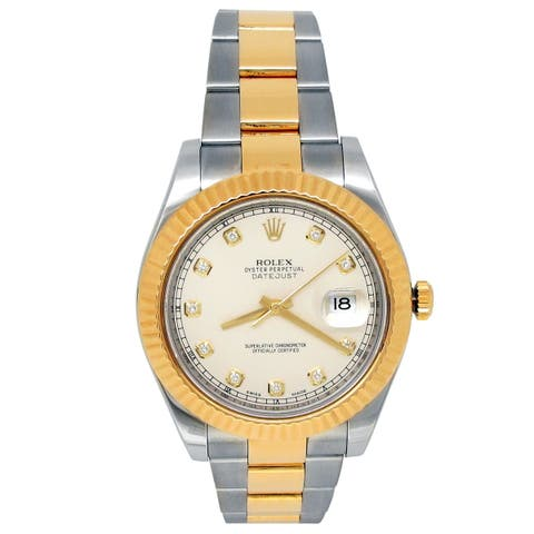 Pre-owned 41mm Rolex 18k Yellow Gold and Stainless Steel Datejust II Watch - N/A - N/A