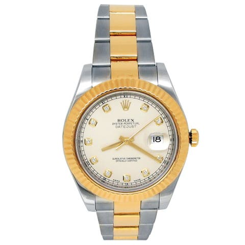 Pre-owned 41mm Rolex 18k Yellow Gold and Stainless Steel Datejust II Watch
