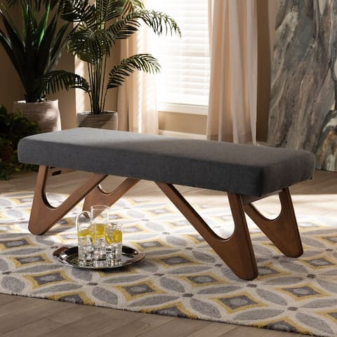 Carson Carrington Ullaberg Mid-century Modern Upholstered Boomerang Bench