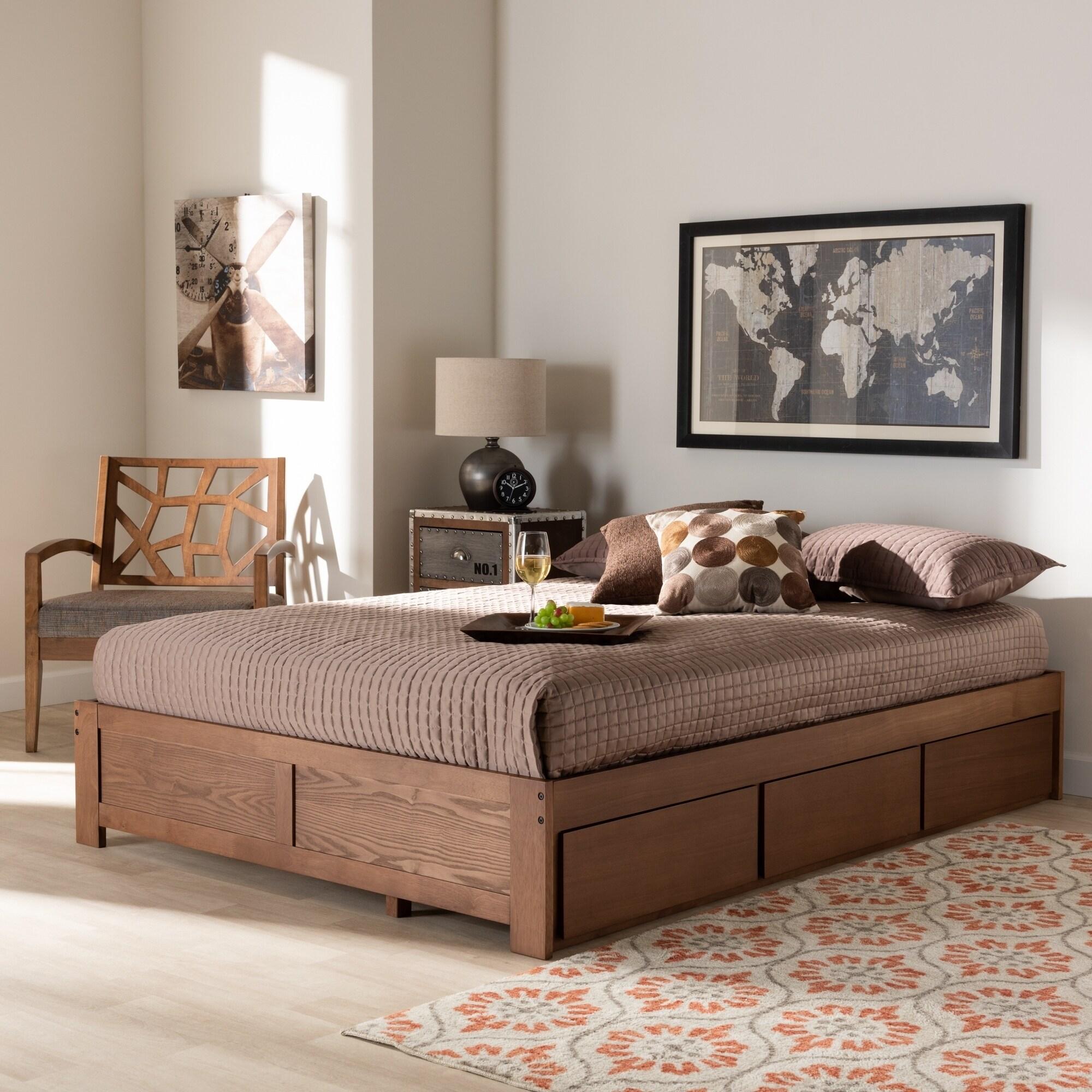 Wren Modern And Contemporary 3 Drawer Platform Storage Bed Frame Overstock 28744091 Full