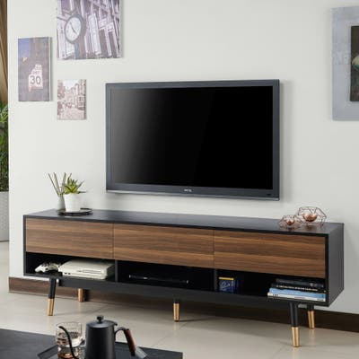 Carson Carrington Uddvide Black and Brown 71-inch 3-shelf TV Stand
