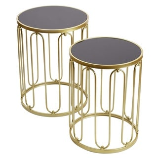 Adeco FT0259 Decorative Nesting Round Side Accent Plant Stand Chair Set of 2 End Tables Champagne Gold,Black Glass