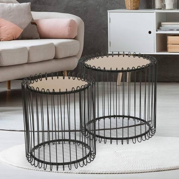 Shop Adeco FT0256-black Decorative Nesting Round Side Accent ...