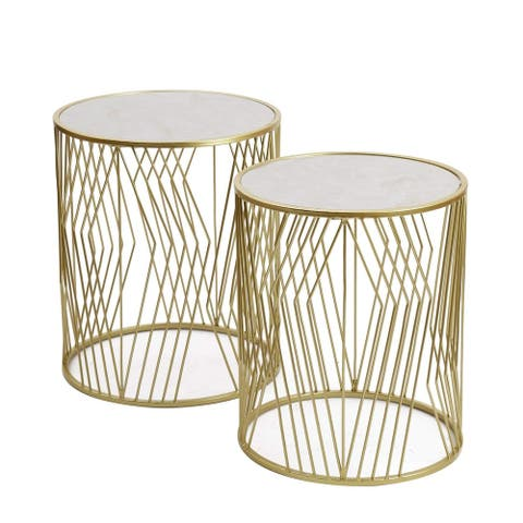Adeco FT0257-gold Decorative Nesting Round Side Accent Plant Stand Chair for Bedroom, Set of 2 End Tables Gold,White UV