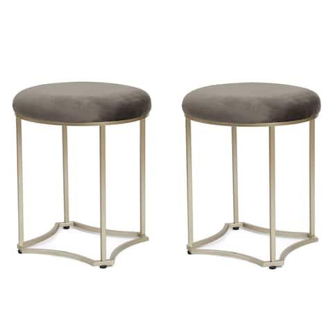 Adeco FT0252 Round Footstool Velvet Modern Style, Steel Legs, 17 Inch Height, Set of 2 Ottomans & Storage Ottomans Grey