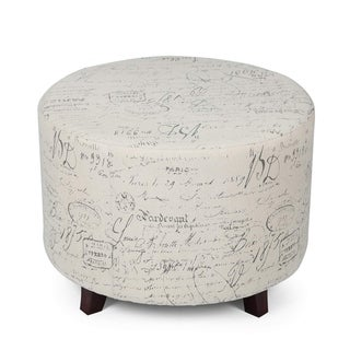 Copper Grove Rosario White Fabric-upholstered Cylindrical Storage Ottoman with Script Accents