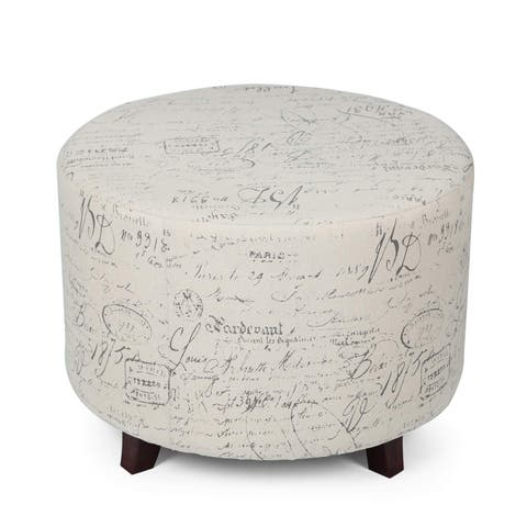Adeco FT0273 Fabric Script Pattern Round Foot Rest and Seat, Wood Legs Ottomans & Storage Ottomans White