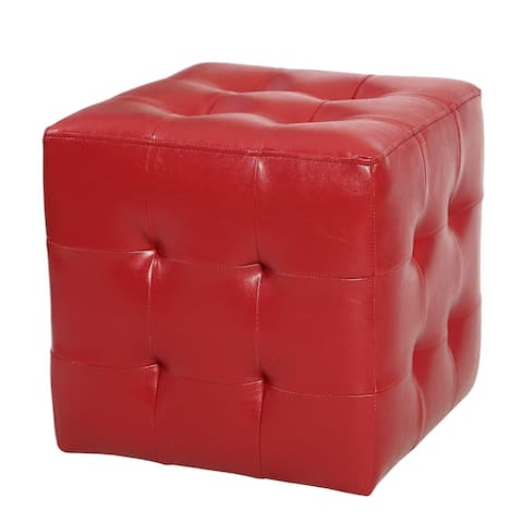 Adeco FT0281-1 Square Tufted Faux Leather, Bench Footstool, Height 15 Inch Ottomans & Storage Ottomans Red