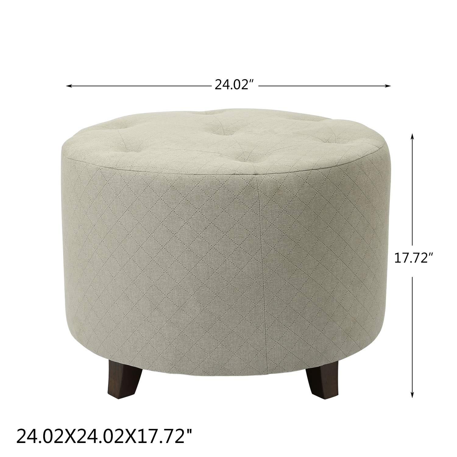 Sensational Adeco Ft0273 1 Round Fabric Foot Rest And Seat Height 17 Inch Ottomans Storage Ottomans Cream White Short Links Chair Design For Home Short Linksinfo