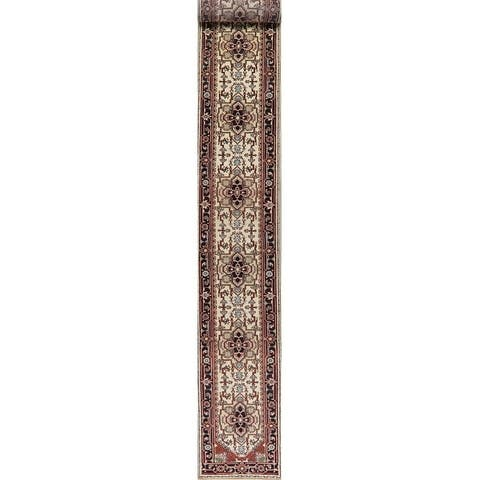Heriz Oriental Hand Knotted Traditional Wool Indian Runner Rug - 20' 4'' X 2' 8'' Runner