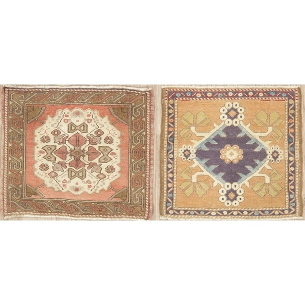 Traditional Oushak Oriental Hand Knotted Wool Turkish Area Rug - 2'2''x 1'10''