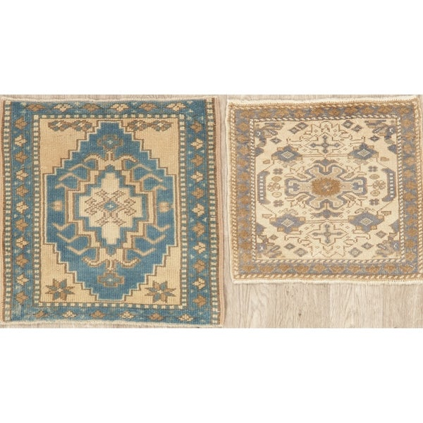 Oushak Oriental Hand Knotted Traditional Wool Turkish Square Area Rug - 1'10''x 1'10''